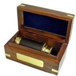 Small Telescope / Spyglass in Personalised Wooden Box ref TSWB